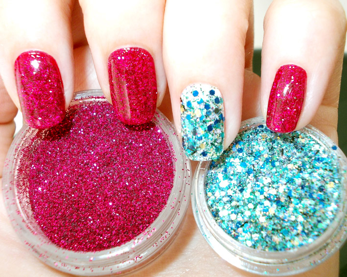 Red & Blue Glitter dipped Nail Art – PROMAKEUPME
