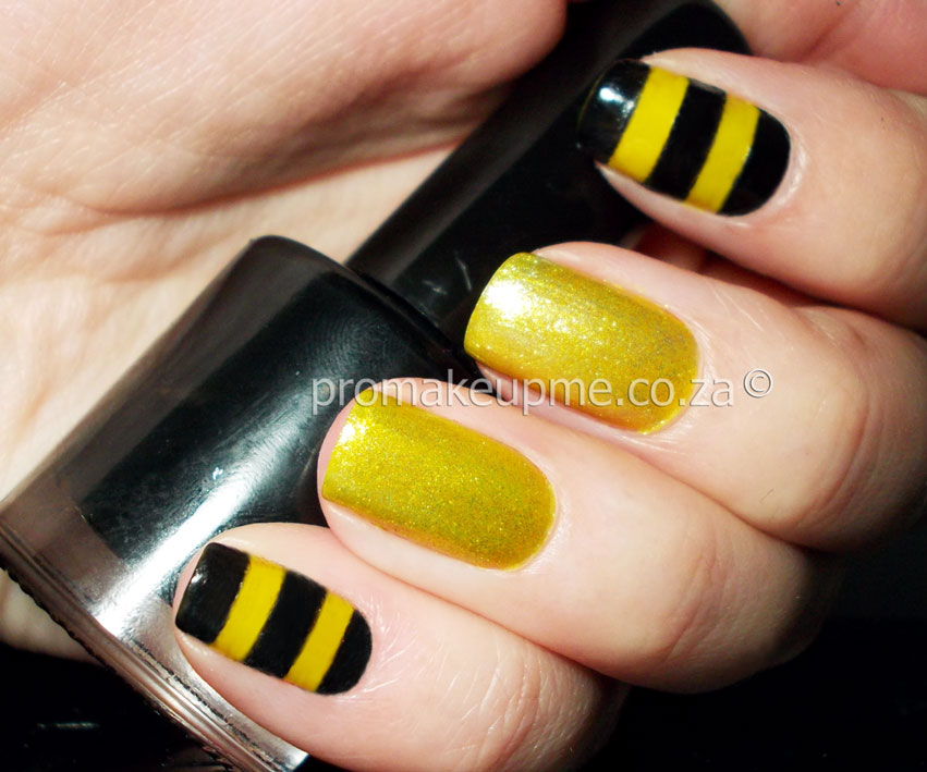 Yellow Black and Gold Honey Bee Nail Art – PROMAKEUPME