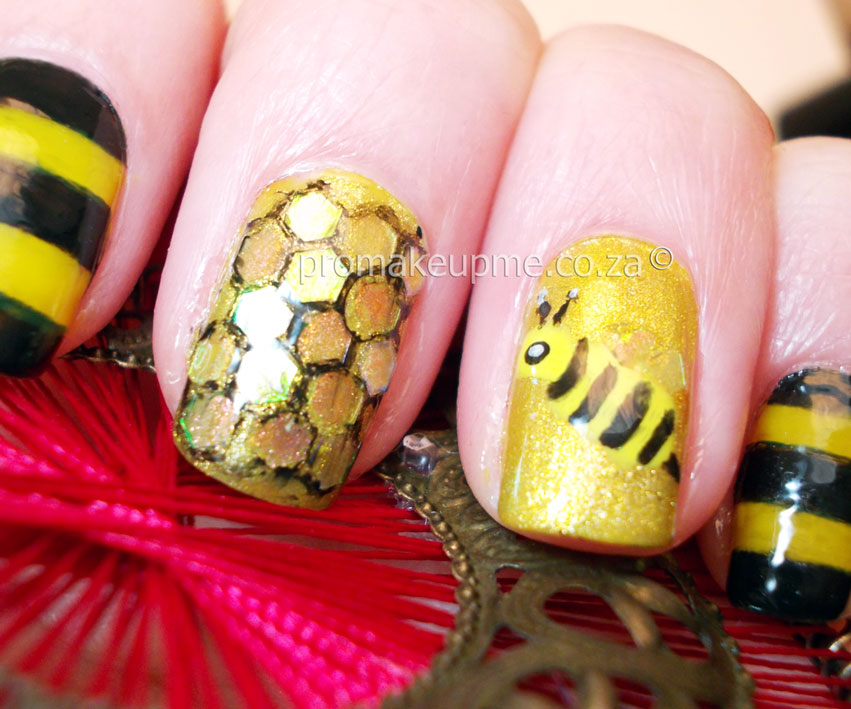 Yellow Black And Gold Honey Bee Nail Art Promakeupme