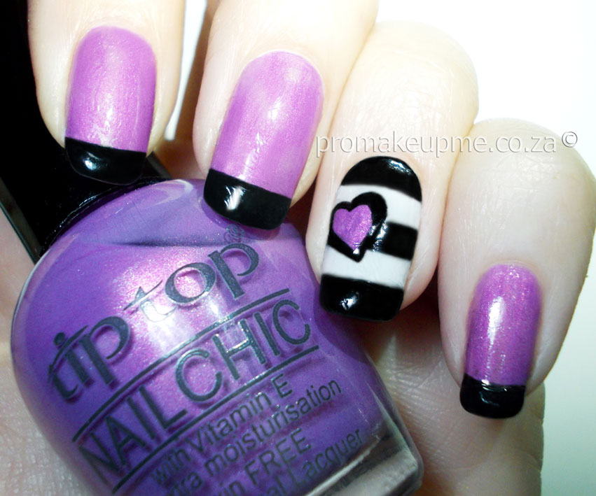 Black & White Stripes with Purple Hart Nail Art – PROMAKEUPME