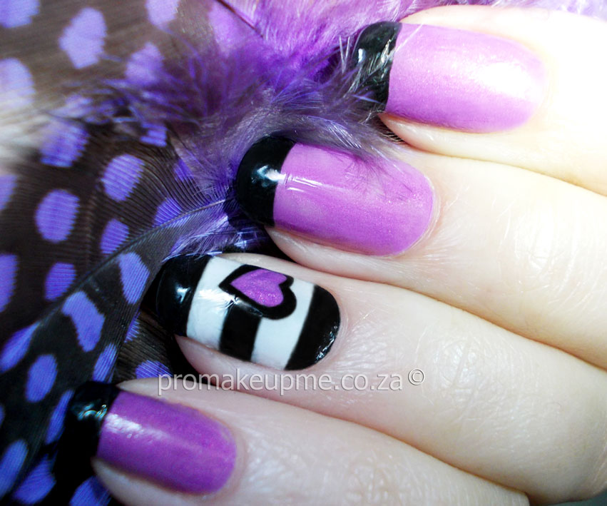 Black White Stripes With Purple Hart Nail Art Promakeupme