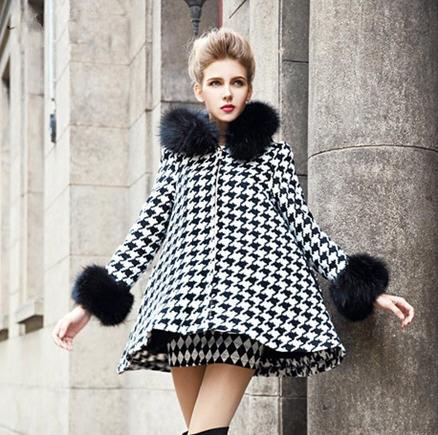 2014spring-plus-velvet-thick-fur-collar-woolen-outerwear-female-autumn-winter-fashion-font-b-houndstooth-b