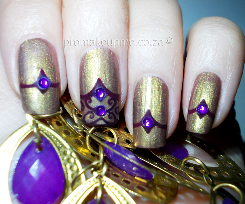 Gold & Purple Regal Nail Art – PROMAKEUPME