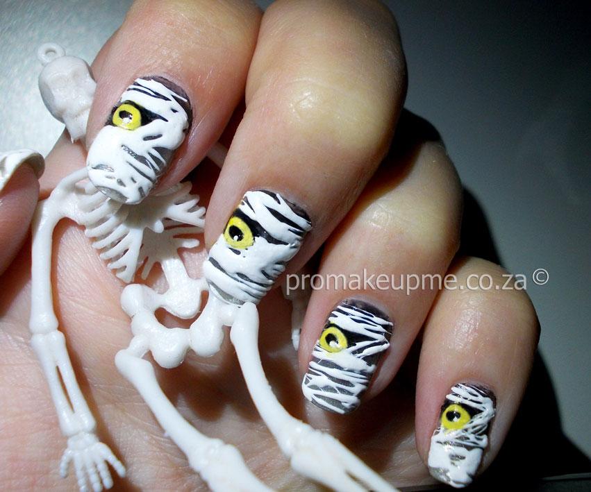 Halloween 2014 Spun Sugar Mummies Nail Art Promakeupme